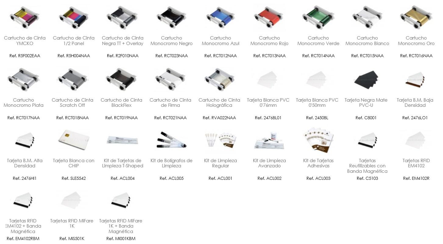 Consumibles de impresora Evolis Zenius. Tome nota de las referencias que precisa y solicite presupuesto